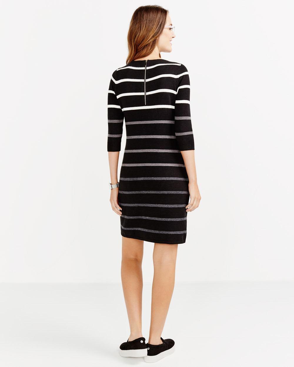 ¾ Sleeve Striped Dress