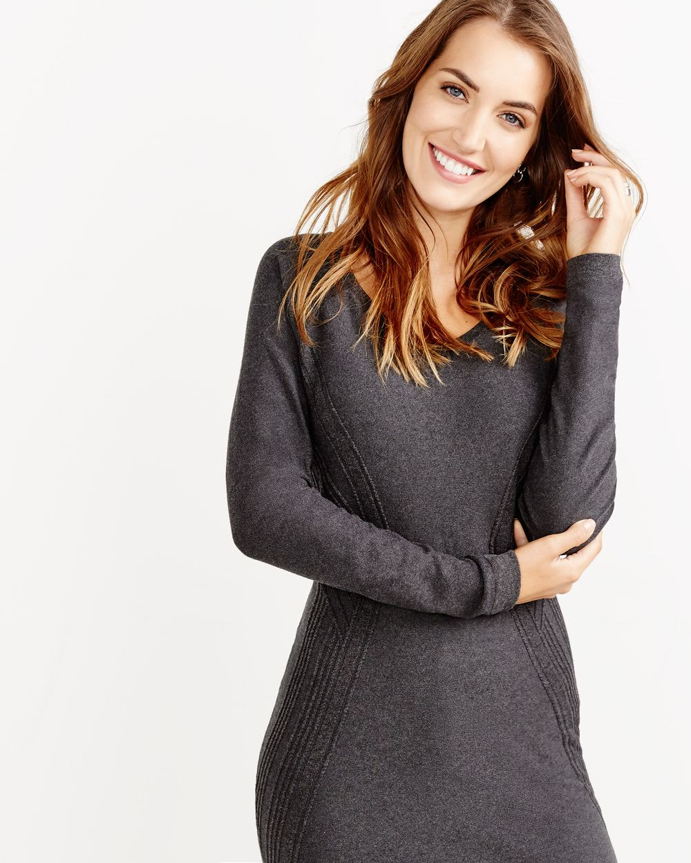 Long Sleeve Rib Detail Dress