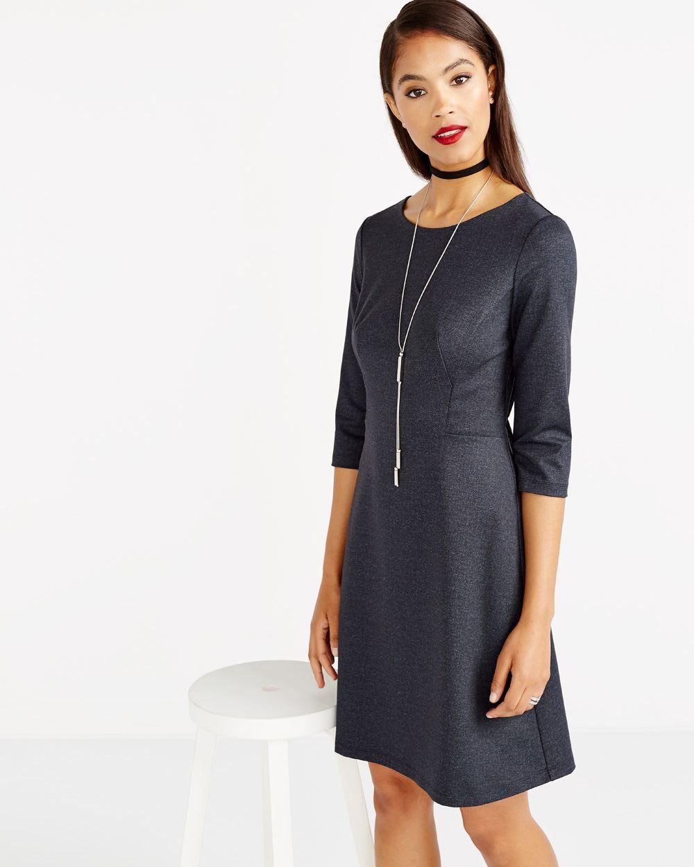 ¾ Sleeve Solid Dress