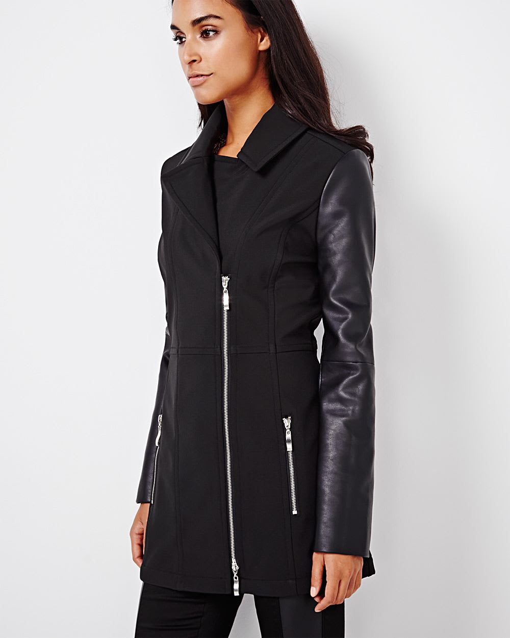 Soft shell coat with faux leather sleeves
