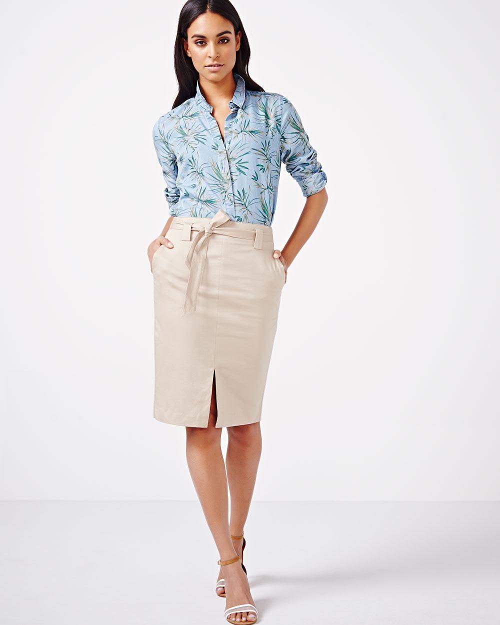 Linen-blend Pencil Skirt