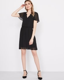 Fit and Flare dress with flutter sleeve
