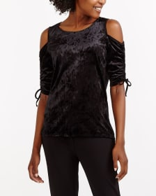 Cold Shoulder Velvet Top