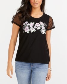 Mesh Sleeve Appliqué T-Shirt