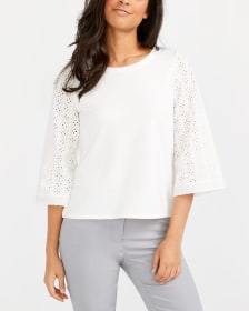 ¾ Sleeve Crochet Lace Top