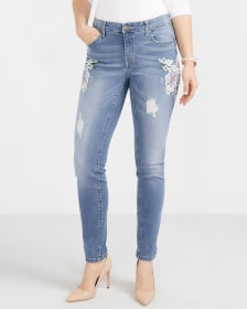 Printed Light Wash Skinny Jeans