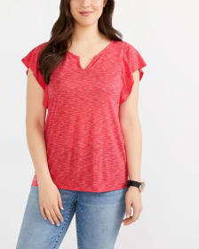 Flutter Sleeve Marled T-Shirt