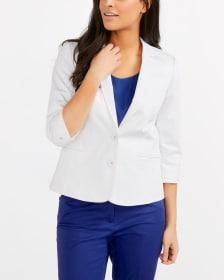 ¾ Sleeve Cotton Blend Blazer