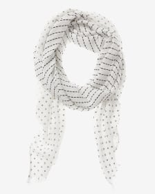 Black and Cream-Coloured Pattern Scarf