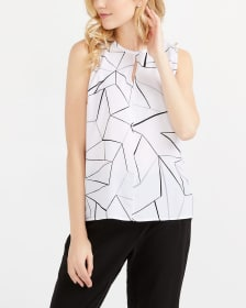 Willow & Thread Sleeveless Printed Blouse