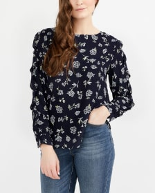 Ruffle Long Sleeve Printed Blouse