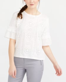 Crochet Lace ¾ Sleeve Top