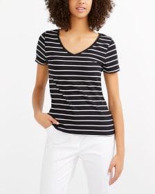 T-shirt incontournable rayé à col en V R Essentials