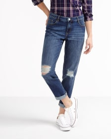 Straight Leg Ripped Boyfriend Jeans