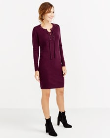 Long Sleeve Lace-Up Dress