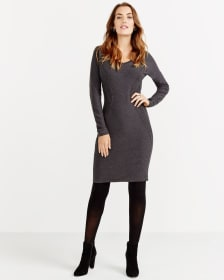 Long Sleeve Rib Detail Dress
