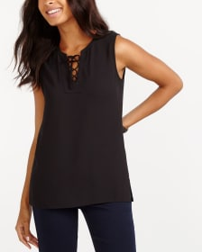 Sleeveless Lace-Up Top