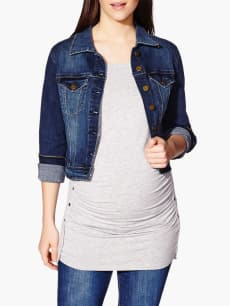 Long Sleeve Cropped Maternity Denim Jacket