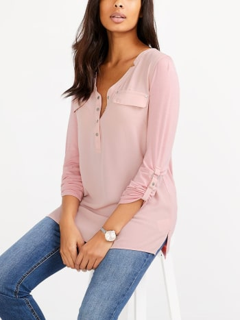 Long Sleeve Nursing Henley Blouse