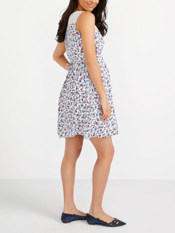Printed Maternity Dress with Sheer Panel