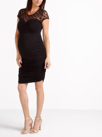 Stork & Babe - Maternity Dress with Patterned Mesh