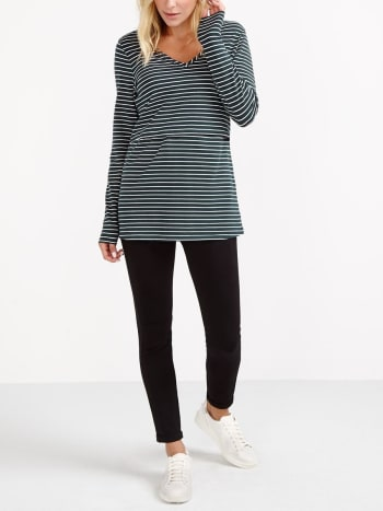 Long Sleeve Striped Nursing Top