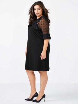 ONLINE ONLY - 3/4 Mesh Sleeve A-Line Black Dress