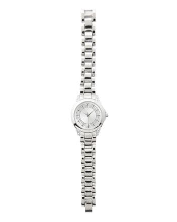 Metallic Watch with Rhinestones