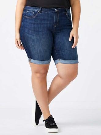 Petite Straight Fit Bermuda Jean Short - d/c JEANS
