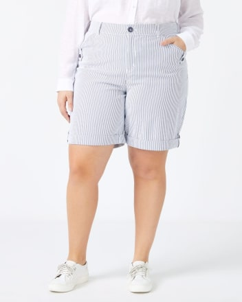 Slightly Curvy Fit Striped Bermuda Short - In Every Story
