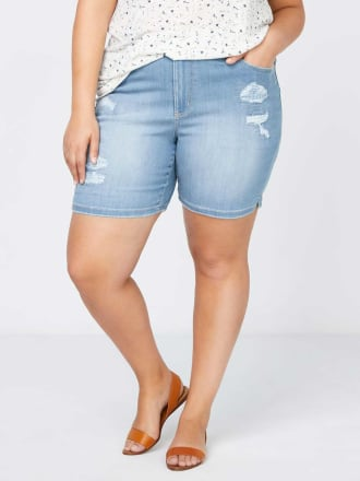 Petite - Slightly Curvy Denim Short with Rips & Repair - d/C JEANS
