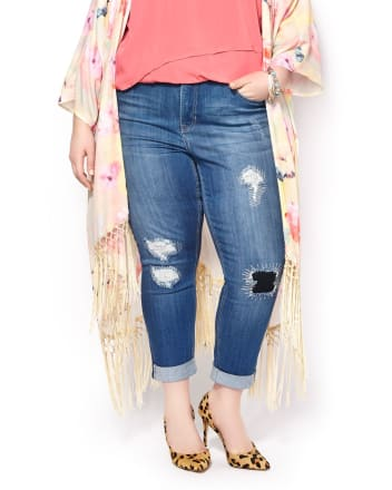 MELISSA McCARTHY Skinny Distressed Cropped Jean