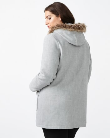 Hooded Parka Coat with Faux-Fur Trim