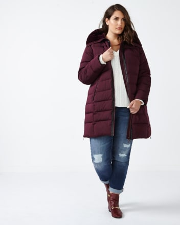 Down Coat with Belt and Faux-Fur Hood