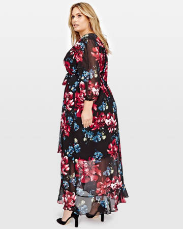 Michel Studio Sangria 3/4 Sleeve Wrap Printed Maxi Dress