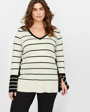 Michel Studio Striped Sweater with Slits 403124