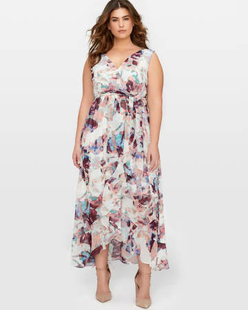 Sleeveless Ruffle Front Maxi Dress