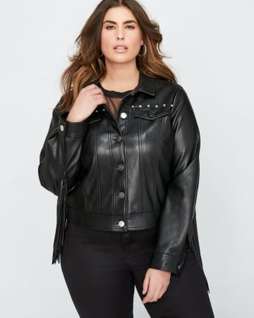 L&L Pleather Cropped Fringed Jacket