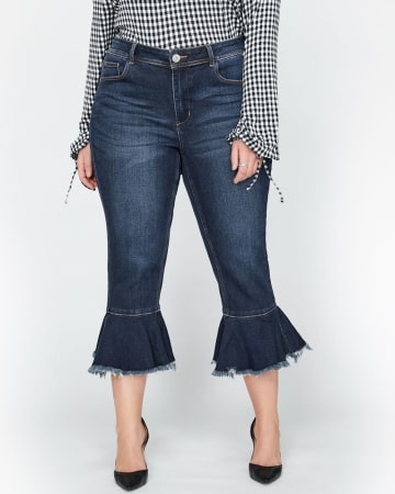 L&L Cropped, Flare Hem with Frills, Slim Jeans