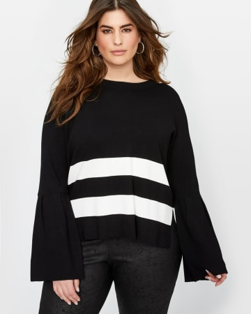 Rachel Roy Striped Sweater with Open Back