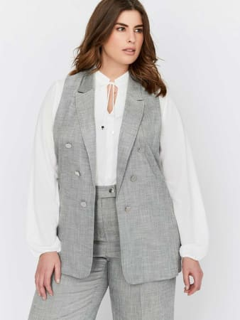 Michel Studio Faux Double Breasted Peak Lapel Collar Vest