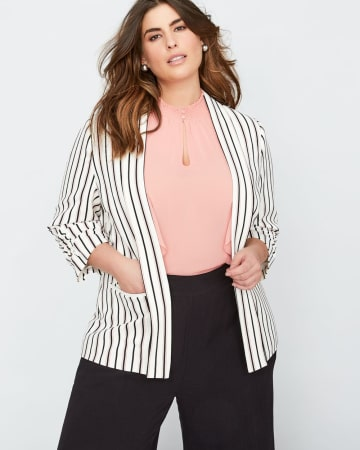 Michel Studio Three-Quarter Striped Shawl Collar Blazer