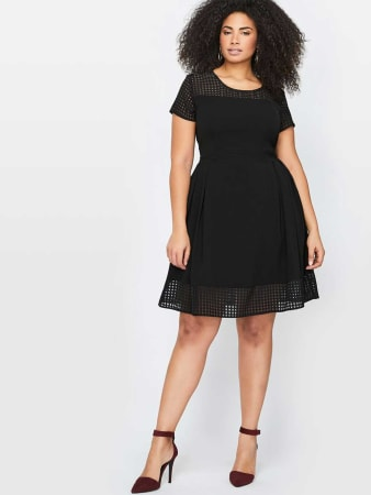 City Chic Fit & Flare Dress With Mesh Insert