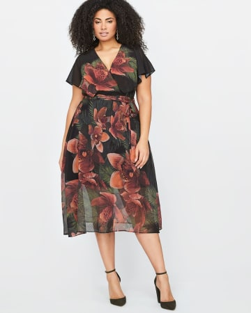 City Chic Midi Tropical Flower Dress