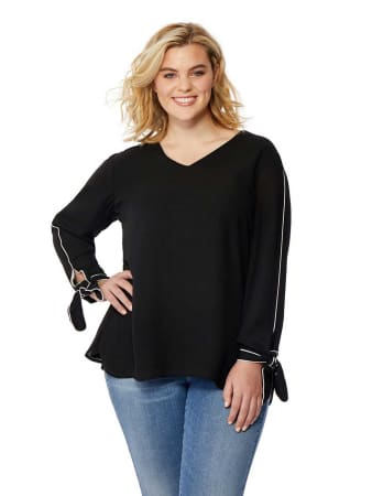 Rebel Wilson Piped Blouse with Cuff Details