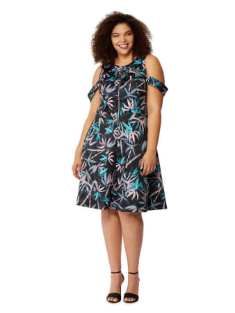 Rebel Wilson Fit & Flare Palm Print Dress