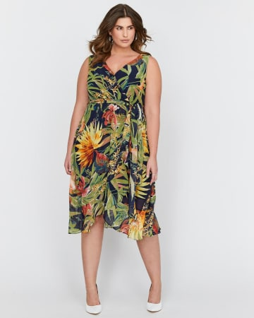 Sangria Exotic Print Wrap Dress