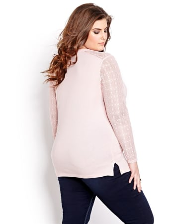 Lace Sleeve Henley Top