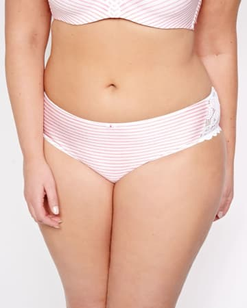 Printed Striped Panty with Lace Inserts