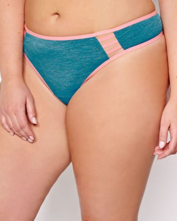 Thong with Contrast Trims and Cutouts